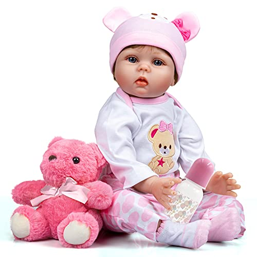 Asmork Lifelike Reborn Baby Dolls Girl, Realistic 22 Inch Weighted Newborn Baby Dolls, Soft Silicone Baby Doll with Pink Bear Clothes and Toy Accessories, Kids Gift for Age 3+ (Aria-22 Inch)