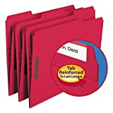 Smead 12740 Folders Two Fasteners 1/3 Cut Assorted Top Tab Letter Red 50/Box