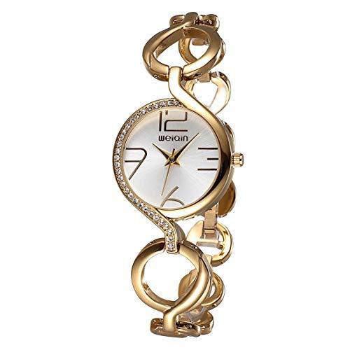 LBBL Reloj Mujer Moda Pulsera Cadena Hueca Reloj Pulsera Cuarzo con Incrustaciones Cristal Dial Reloj de Mujer (SKU : Ca6511jw)