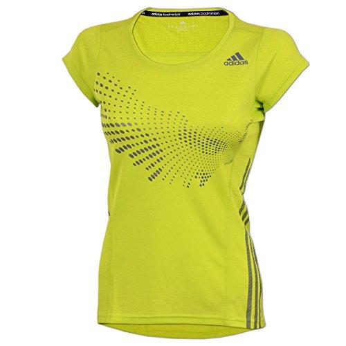 adidas Damen BT Graphic Shirt Sportshirt Badminton Fitness (semi solar Yellow, S)