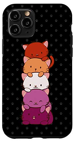 iPhone 11 Pro Orange Pink Lesbian Pride Flag Cute Kawaii Cat Case