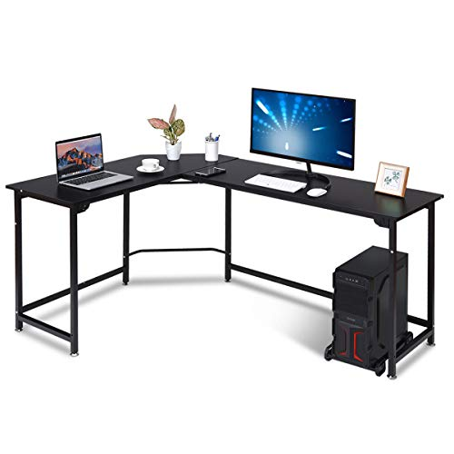 COSTWAY Computertisch L-Form, Eckschreibtisch mit CPU-Ständer, Schreibtisch PC-Tisch, Bürotisch Ecktisch Winkelschreibtisch, Heimarbeitsstation (Schwarz)