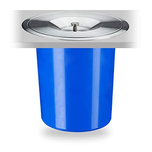Relaxdays 10035443 Poubelle Plan de Travail, 5 l, encastrable, déchets organiques, avec Couvercle en INOX, HxD 23 x 24 cm, Bleu, 1 élément