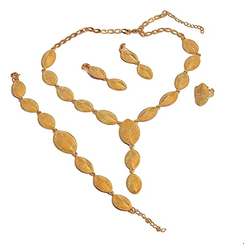 VAWAA Juego de Joyas de 24 k para Mujer, Dubai, Color Dorado de 24 K, Regalos de Boda, Collar de Compromiso Africano, Anillo, Pendientes, Pulsera, Conjunto de Joyas
