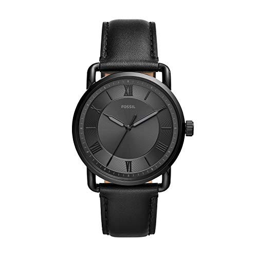 Fossil Men's Copeland Quartz Leather Three-Hand Watch, Color: Black, Black (Model: FS5665)