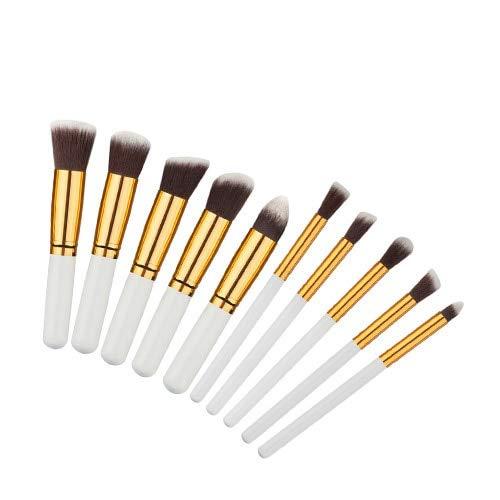 Ensemble de pinceaux de maquillage de beauté, professionnel 10 morceaux de pinceau de maquillage de haute qualité pour femme, Kabuki pinceau pinceau contour pinceau
