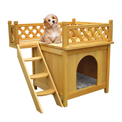 Bartfort Puppy House Wooden Little Dog House Deluxe Pet Home Indoor/Outdoor Wood Cat House...