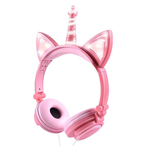 LOBKIN Unicorn Kids Cat Ear Headphones LED Light Up Earphone Wired Adjustable for Boys Girls Back to School Supplies, Kids Headband Earphone Foldable Over On Ear Game Headset for Toddlers