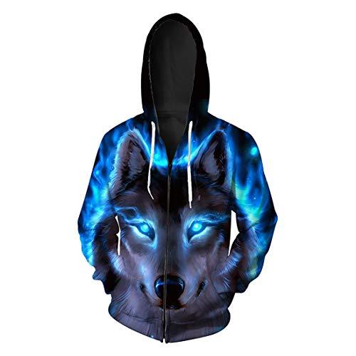 Herren Kapuzenpullover Unisex 3D Tier Druck Hoodie Freizeit Classics Langarm Pullover Sweatshirt mit Kapuze Taschen Herbst Winter Warm Outwear Hip Hop Streetwear Mitteldick L