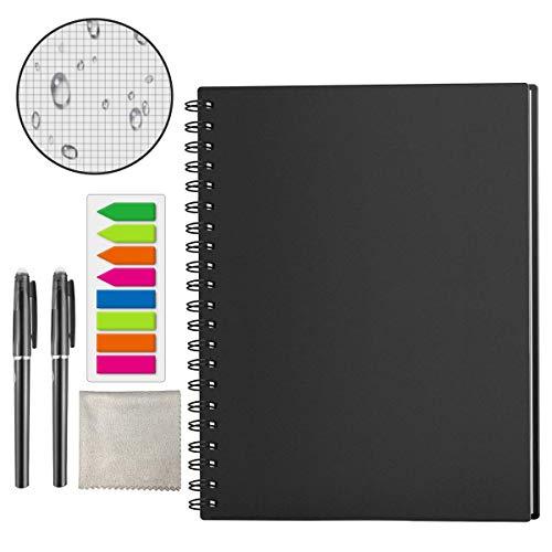 HOMESTEC Wiederverwendbares Notizbuch A4 Smart Notebook - Übertragung mit iOS/Android App - Dotted - Schwarz - 29,7 * 21cm