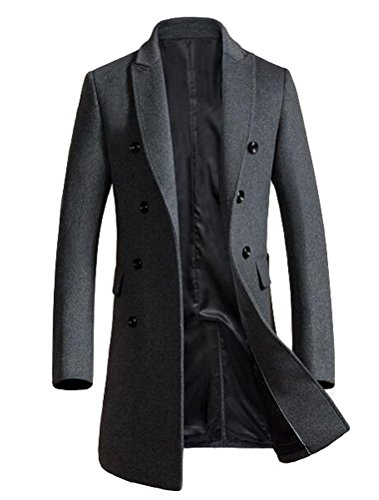 Vogstyle Herren Warme Wolle Coat Wintermantel Jacke Herrenmantel,  L,   Grau