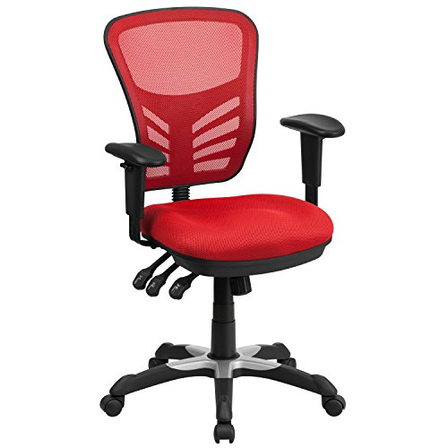Flash Furniture Mid-Back Red Mesh Multifunction Executive Swivel Ergonomic Office Chair with Adjustable Arms, BIFMA Certified
