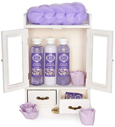 BRUBAKER Cosmetics - 10-teiliges Bade- und Pflege Set Geschenkset - Lavendel - im Vintage Beauty-Schrank Weiß