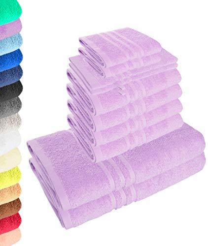 10-teiliges Handtuchset Elena - Lavendel, 4 x Handtuch, 2 x Duschtuch, 2 x Gästetuch, 2 x Waschhandschuh, 100% Baumwolle