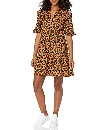 AmazonBrand Goodthreads Women's Washed Linen Elbow Sleeve Split Neck Tiered Dress, Tan/Black Woodblock Floral, Small