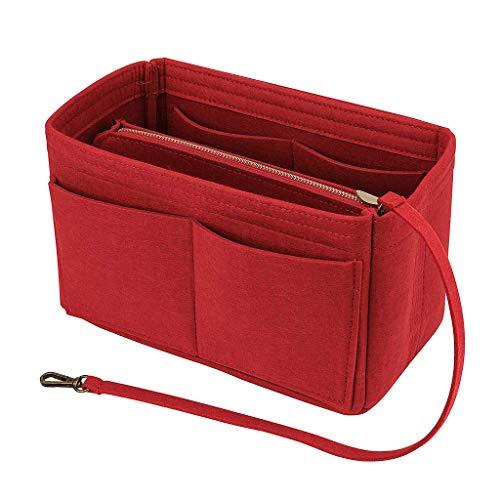 Great Deal! Ikevan Insert Bag Zipper Multi Felt Pocket Handbag Purse Eyeliner Lipstick Pens Phone Tablets Organizer Holder Makeup Travel, 26 x 15 x 15 cm (Rose Red)