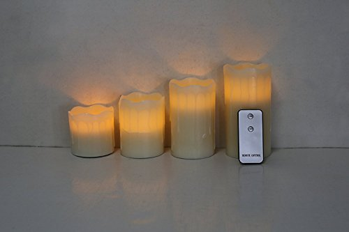 "Akari Set of 4 Real Wax Battery Operated Flameless LED Flickering Candles Pillar Candle with Remote 3"" 4"" 5"" 6"" inch Weddings Birthdays Gifts Mother's Day Holiday Christmas All Occasions (Warm White)"