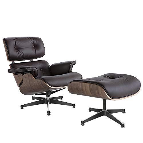 Lounge Sessel mit Ottomane, Mitte des Jahrhunderts Sessel Liegesessel mit echtem Leder Modern Chaise für Schlafzimmer Wohnzimmer Lounge Büro
