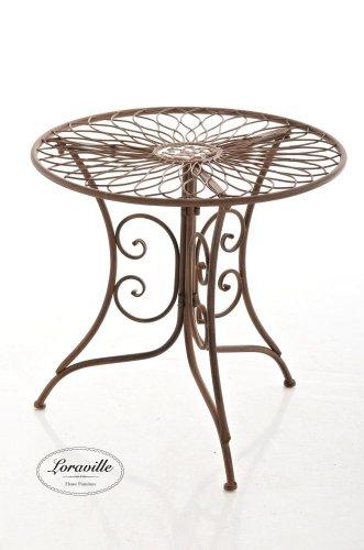 CLP graziler Eisentisch ARIANO Design, Durchmesser Ø 54,5 cm (aus bis zu 2 Farben wählen) Antik Braun
