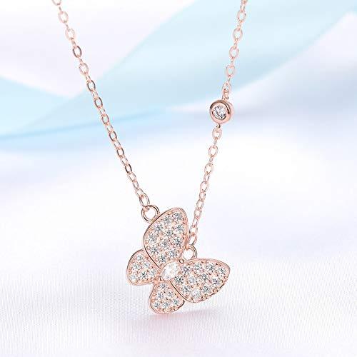 NHGF Collar de Diamantes Completo, Collar Simple de Plata esterlina S925, joyería de Collar de Moda para Cadena de clavícula para Damas(Rose Gold Butterfly Necklace)