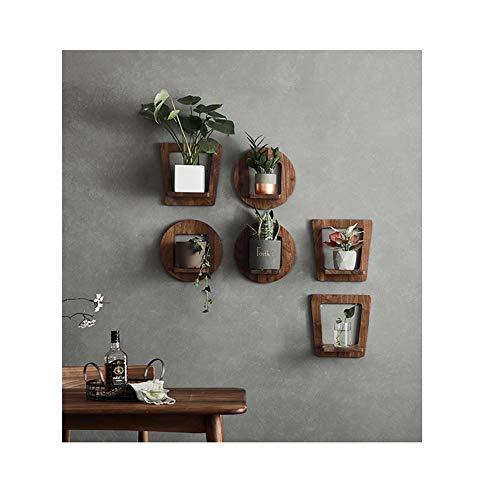 JYSD Wandmontage-Blumenständer/Multifunktion/Wandhalter/Pflanzenständer aus schwarzem Nussbaum für Innenräume/Topfhalter für Wohnzimmer. (Size : E)