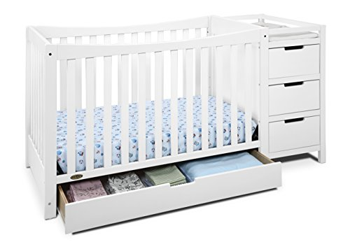 Graco Remi 4-in-1 Convertible Crib and Changer, White,...