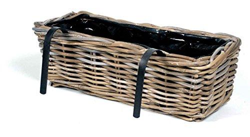 Mega Ceramiks Blumenkasten Rattankorb L 46 cm Balkonkasten Hängekorb Pflanzkorb Blumenkorb Fensterkorb Blumenbalkon
