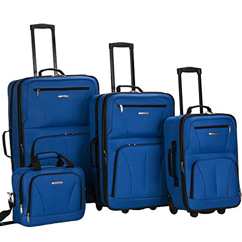 Rockland Journey Softside Upright Luggage Set, Blue, 4-Piece (14/19/24/28)