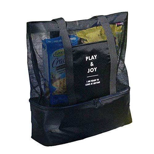 Amaoma Badetasche Familie Badetaschen Strandtaschen mit Wasserdichtem Kühlfach Hoch Kapazität Reißverschluss Picknicktasche für Reise oder Ausflug MTI Kindern Beachbag Urlaubstasche Schwarz