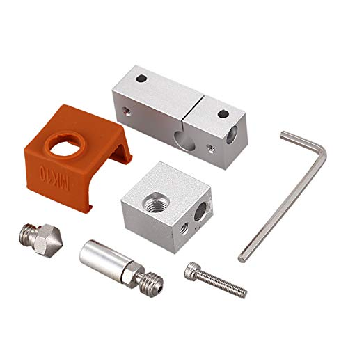 Jaimenalin 3D Printer Extruder All Metal Hotend Mk10 Nozzle Heating Block Stainless Steel Nozzle for Wanhao I3 Plus