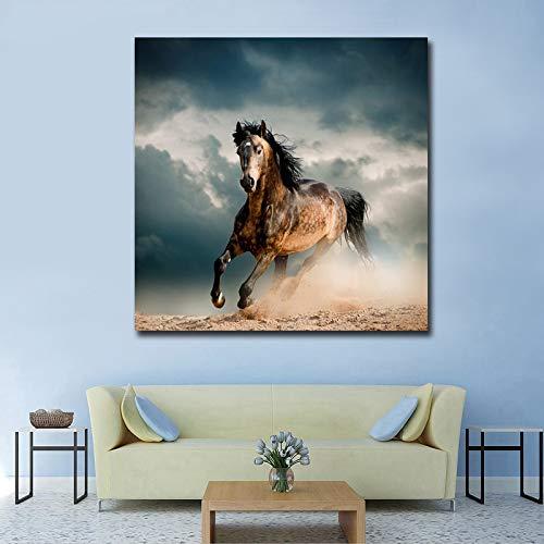 Pintura al óleo moderna de la figura del caballo corriente en el cartel de la lona e impresión Cuadros cuadro decorativo de la pared para la sala de estar 40x40 CM (sin marco)
