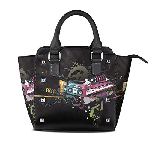 Flyup Tote Bags Handtasche für Frauen Piano With Audio Tape PU Leather Top-Handle Handbags Single-Shoulder Tote Crossbody Bag Messenger Bags For Women