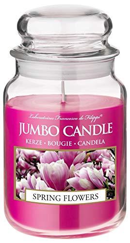 Jumbo Candle Duftkerze im Glas (groß) | Brenndauer bis zu 150 Stunden | (Spring Flowers (Frühlingsblumen))