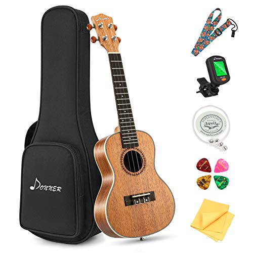Donner Concert Ukulele Beginner Kit 23 inch Ukelele Mahogany Wood with Free Online Lesson Gig Bag Strap Nylon String Tuner Picks Ukalalee Yukalalee Bundle Pack DUC-200