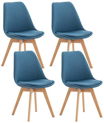 HUIJK 4er Set Esszimmerstuhl Linares Lehnstuhl Holzgestell Buche Küchenstuhl (Color : Blau, Size : Stoff)