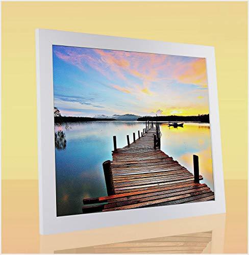 Montecarlo Deluxe Slimline Bilderrahmen Posterrahmen 75x98 cm Weiß Matt 98x75 cm mit weissem Hintergrund und klarem Kunstglas