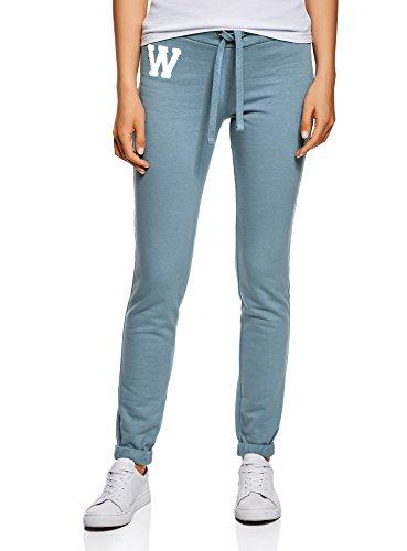 oodji Ultra Damen Jersey-Hose im Sport-Stil mit Dekorativen Bindebändern, Blau, DE 40 / EU 42 / L