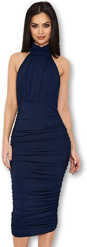 AX Paris Women's High Neck Ruched Bodycon Midi Dress