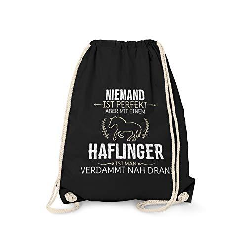 Fashionalarm Turnbeutel - Niemand ist perfekt - Haflinger | Fun Rucksack Sport-Beutel Spruch lustige Geschenk-Idee Pferde-Liebhaber Reiten Pony, Schwarz One Size