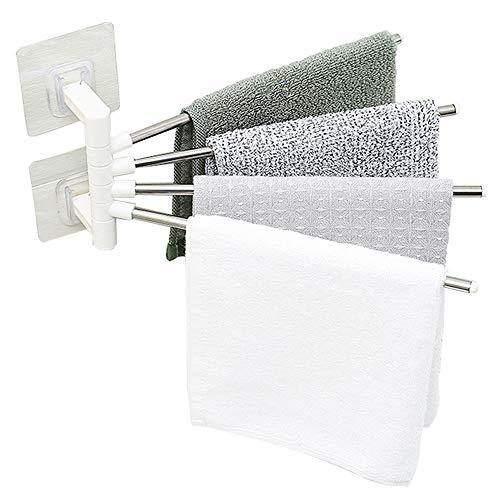Handtuchhalter, 4 Armen Edelstahl Handtuchstange, Ohne Bohren, 180° Drehung, für Badezimmer und Küche