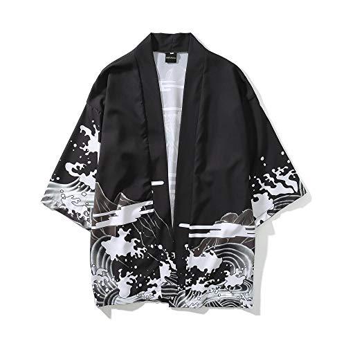 HYL0 Retro Traje del Dragón Ola De Mar De Siete Puntos De La Manga Kimono Japonés Impresión Floja De La Chaqueta Chaqueta De Punto Juventud ZZBiao (Color : Black, Size : M)