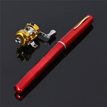 G Ganen 38inch Mini Portable Pocket Aluminum Alloy Fishing Rod Pen Great Gift  Red