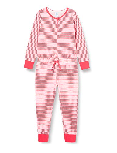 Sanetta Mädchen Jumpsuit Long Stripe Camellia Rose Lässig bequemer Overall Schlafen und Relaxen an kalten Tagen für Coole, rosa, 116