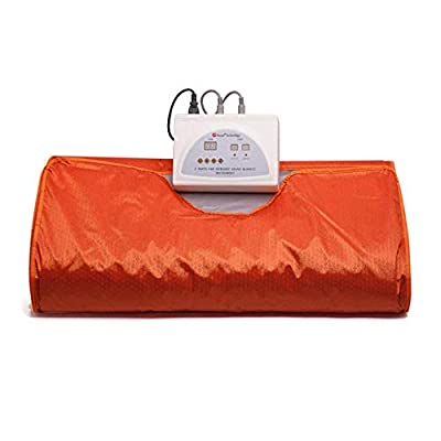 T iNlovEaRTs Far Infrared Sauna Blanket, 70.8x31.4 Inches 110V 2 Zone Waterproof Detoxification Blanket with Safety Switch Used As Home Sauna for Body Shape Slimming Fitness
