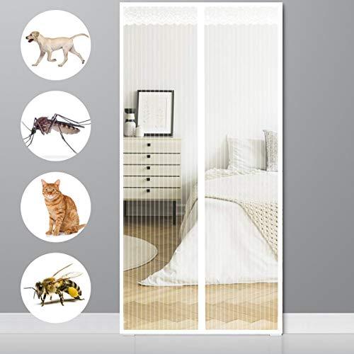 XIAOLEI Magnetica Corredera Cortina 95x215cm(37x85inch) Cierre magnético Que se Cierra automáticamente Mosquiteras a Medida Anti Insectos Moscas y Mosquitos para Sala Puertas de Salón Terraza, Blanco
