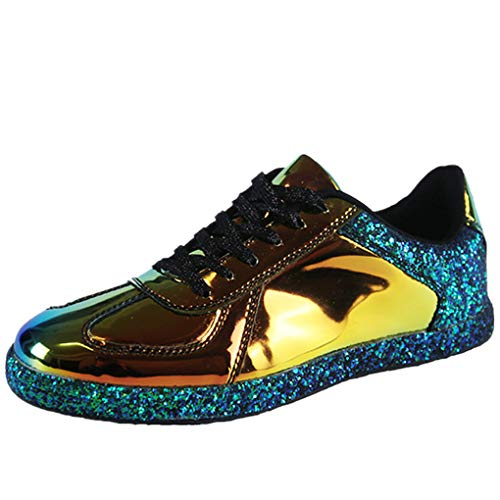 Low Sneaker für Damen/Dorical Frauen Bunte Spotschuhe Turnschuhe Atmungsaktiv Leicht Freizeitschuhe Metallfrei Knöchelhoch Reflektierende Wanderschuhe Cool Sommer Schnürschuhe(Gold,39 EU)