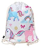 HECKBO Unicorn Gym Bag - Color: beige impreso por las dos caras con Unicornios...
