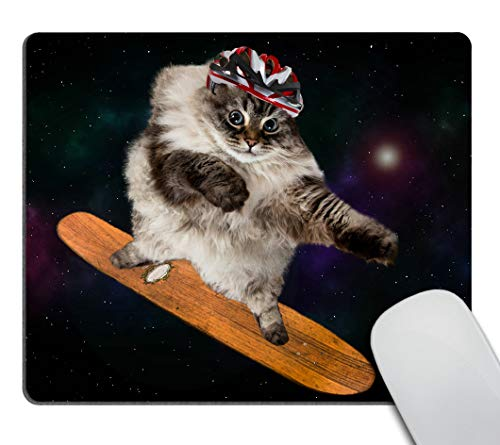 Smooffly Gaming Mouse Pad Custom,Funny cat Skating in Cosmos Mousepad Non-Slip Rubber Rectangle Mouse Pads for Computers Laptop