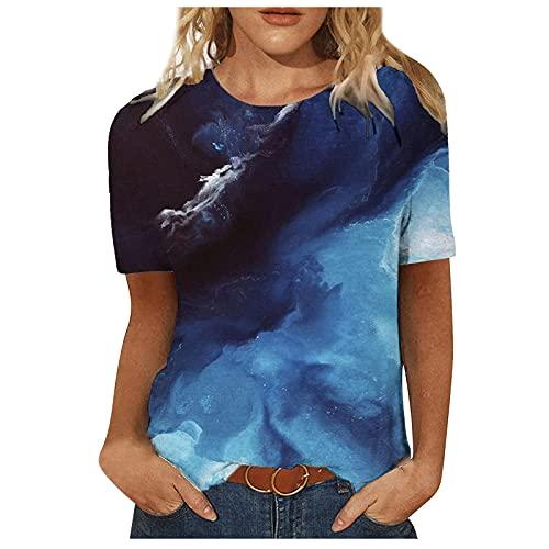 MOMONIHAO Damen Sommer 3D Bunt Schmetterling Motiv Lässig Loose Patchwork Pullover Rundhals Kurzarm Tops T-Shirts