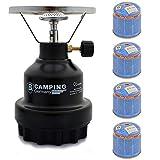 Campingkocher E190 Gaskocher Metall mit 4X Gas (Schwarz)